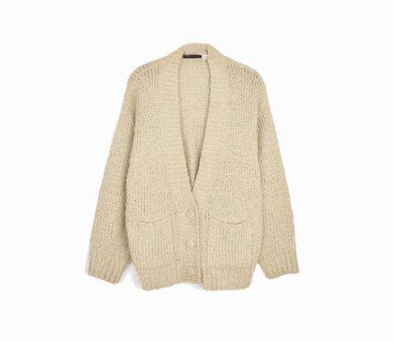 Vintage 90s Almond Boucle Duster Cardigan / Cozy Sweater / 90s Normcore - women's large
