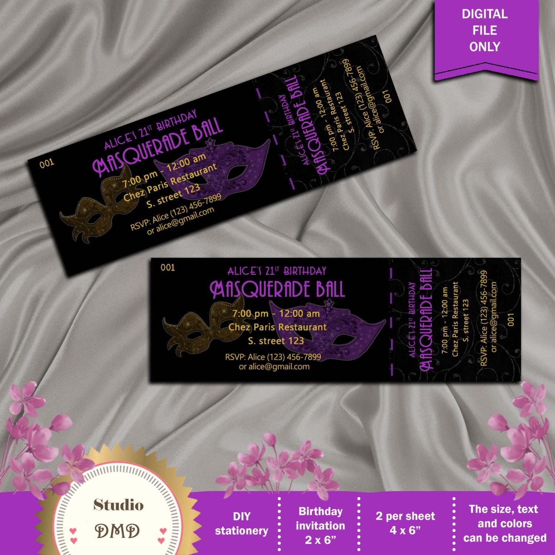 Masquerade Ball Birthday Party Invitation Prom Invitation