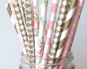 Floral Bridal Shower Decorations, Paper Straws Pink Gold & Floral Birthday Decor, Floral Mimosa Bar Straws Bubbly Bar Straws, Charlotte