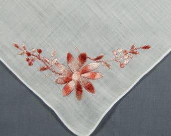 Bronze Pink Flowers Embroidered on White Cotton BIG Vintage Hankie Handkerchief