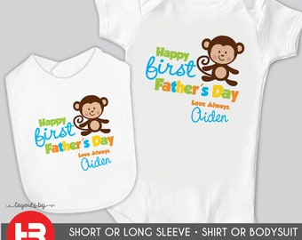 baby's first father's day bodysuit or shirt - 1st father's day gift - BOY MONKEY - personalized first fathers day gift from baby