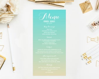 PRINTABLE Menu Card - Ombre Menu Card -Gradient Menu Card - Single Page - Beach Wedding Invitation - Customizable Colors - 4 x 8