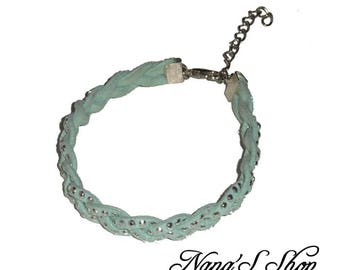 Suede rhinestone Mint bracelet