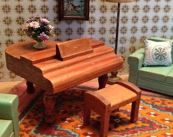 Vintage Miniature Strombecker Piano and Bench from 1930's for 1:16 Scale Dollhouse
