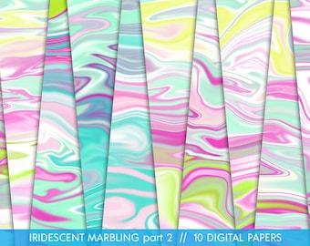 Iridescent Marbling part 2 // 10 Marbling Digital Papers // Flow Marble // Digital Marbling Textures // Iridescent Colors // Commercial Use
