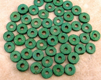 Greek Ceramic Round Washer Beads 6mm Mykonos Aquametal 50 Pieces M15