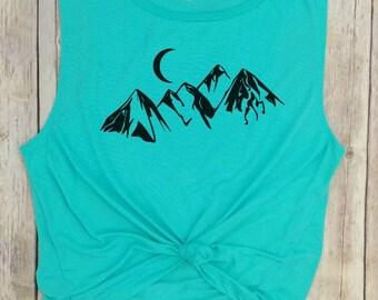 Mountains Muscle Tank, Camping Shirt, Mountains Calling, Hiking Shirt, Womens Hiking Shirt, Mountains Tee, Nature Shirt, Adventure Shirt