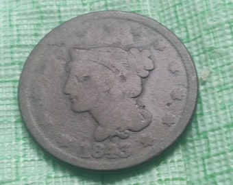 1843 Braided Hair large cent, #J1187 US coin