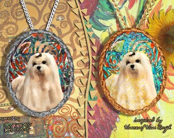 Maltese dog Jewelry Pendant - Brooch Handcrafted Porcelain by Nobility Dogs - Gustav Klimt and Van Gogh