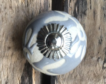Ceramic Drawer Knobs / Cabinet knobs Ball Raw Etched in Blue Grey (CK14)