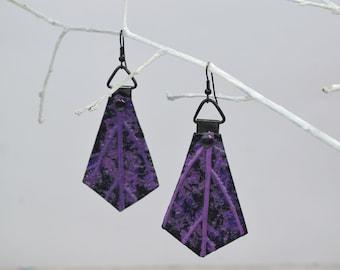 Black purple leaf earrings