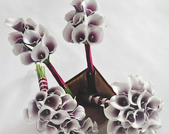 White Purple Real Touch Calla Lily Bouquet bridesmaid bouquet Groom Groomsman Boutounniere,Wedding package