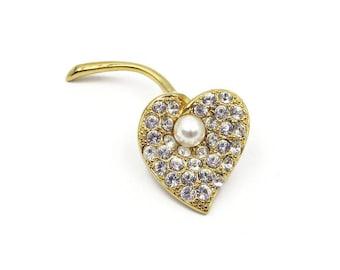 Napier Calla Lily Brooch - Crystal Rhinestone, Faux Pearl, Gold Metal, Eighties Jewelry, Vintage Brooch, Flower Brooch