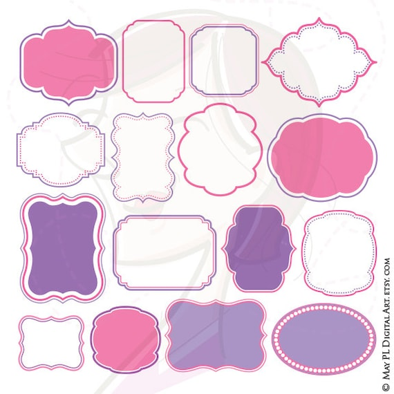 Pink Purple Frames Borders Clip Art   Make Your Own Baby Shower Or Birthday  Invitations, Also For Scrapbook, Crafts, Labels, Tags 10493 From  MayPLDigitalArt ...