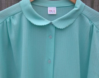 Plus Size Vintage Size 26 Mint Green Blouse 4XL