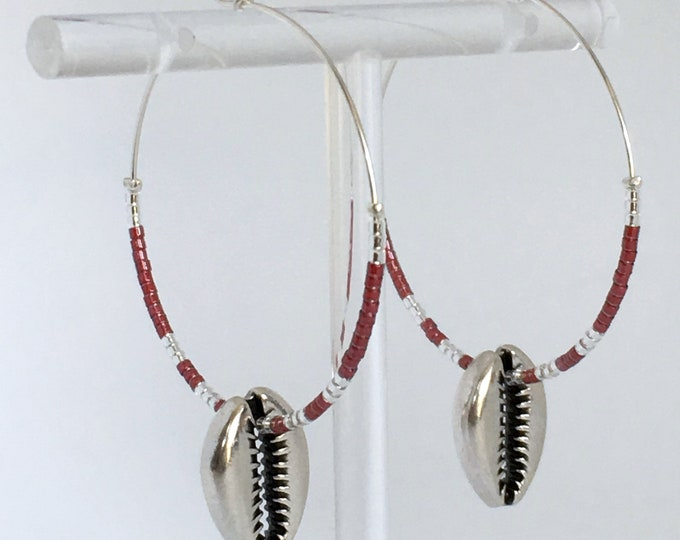 Shell earrings, Silver plated shell hoops and burgundy beads