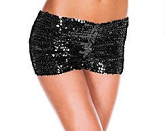 Black sequin hot pants / shorts - one size