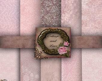 Sale Pink Digital Paper Pack, Scrapbook Paper, Digital Backgrounds, Glitter No 1189