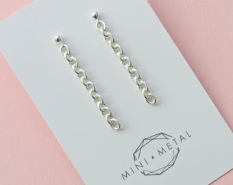 Silver Chain Stud Earrings   Industrial Chain Links   Solid Sterling Silver 925 Cable Chain Studs   Minimalist Modern Chains by MINIMETAL