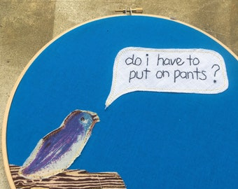 Important question - hand embroidered wall hanging with bird applique