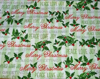 Christmas cotton, 100% cotton fabric, Merry Christmas
