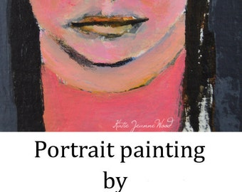 Original Acrylic Portrait Painting. Young Girl Small Wall Art. Miniature Wall Painting. Gift for Her Apartment