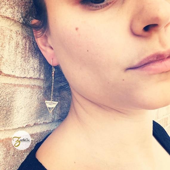 """Stud Earrings in 14 k triangle lace - pattern """"Arrow"""" al. HOLI / / Zaelleza - hippie / Bohemian / wedding / Bridal"""