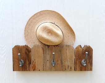 Fence Top three hook rack for stocking, hat, coat, leash, made from reclaimed wood pickets