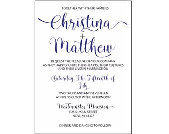 Printable Wedding Invitation, Elegant Wedding Invitations, DIY Print Unlimited Copies