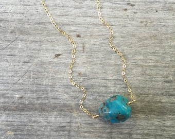 Turquoise Chunk Necklace - Turquoise Necklace - Raw Stone Necklace - Raw Stone -Stone Necklace -Turquoise Necklace -Gift for Her - Girl Gift