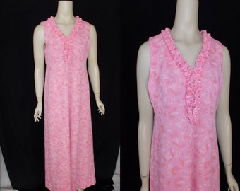 Pink Swirl Textured Polyester TUXEDO Ruffled Vintage 1970's MAXI Dress M L