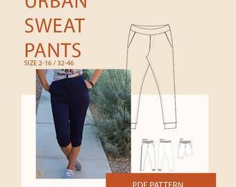 Sweatpants Pattern,  athletic pants pattern women, jogger pants pattern woman,  sweatpants PDF pattern for sewing, woman's PDF sewing patten