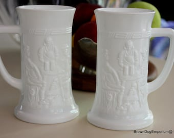 Pair of milk glass mugs // white beer steins // vintage bar decor // retro bar mugs