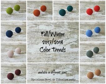 Simple stud earrings set, 2017 trends in jewelry trends 2018, Minimalist earrings studs, Everyday earrings stud, Matte earrings round post