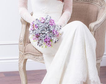 Wedding Bouquet - Lilac & Silver Flower Bridal Bouquet - Silk Flower Purple Bouquet - Lilac Bouquet, Fabulous Brooch Bouquet Alternative