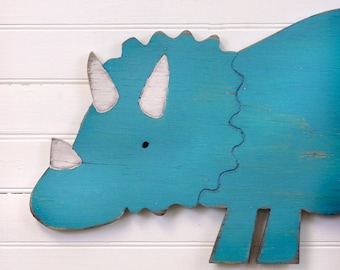 Triceratops Dinosaur Nursery Dino Wall Art Wooden Dinosaur Decor Dinosaur Kids Room Dinosaur Bathroom Wall Art