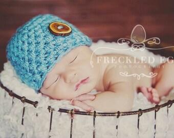 Baby Blue Newborn Beanie Hat