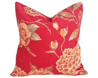 Red Floral Pillow Covers, Rust Red Decorative Pillows, Roses, Hydrangeas, English Country Pillow, Lumbar, 12x18, 16x26, 18, 20, 22, 24, 26