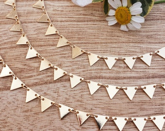 7.25mm Triangle Chain - 1 or 3 feet - Soldered Links - Bright Gold finish - Nickel Free