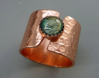 Copper Ring, Copper Dichroic Glass Ring, boho ring, rustic ring, one of a kind ring, handmade ring, copper jewelry