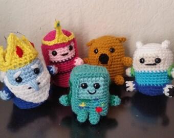 Adventure Time Amigurumi Sets, Jake the Dog, Finn the Human, Crochet Plushie Set
