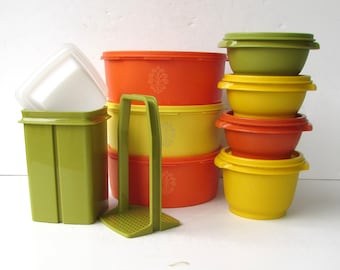 Vintage Tupperware Set - Set of 8 Assorted Pieces of Tupperware - Servalier Bowls with Lids - Pickle Keeper - Astro Bowls - Orange Yellow