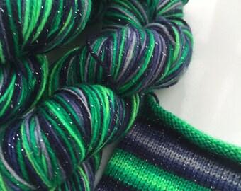 Hand dyed self striping sparkle sock yarn - Aurora Borealis