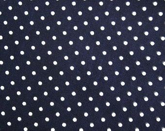 SALE Japanese Cotton Fabric - Dark Navy Polka Dots - Half Yard
