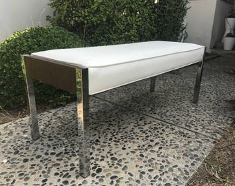 MID CENTURY MODERN Chrome and Wood Bench with White Vinyl Cushion (Los Angeles)