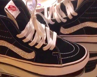 Vans Swarovski Vans Sk8-Hi Trainers In Black Shoe with Swarovski Crystals