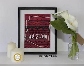 Arizona love with Aztec Pattern Printable// Digital File 8.5x11