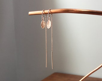 Rose Gold Threader Earrings with small hammered oval dangles and u-bar