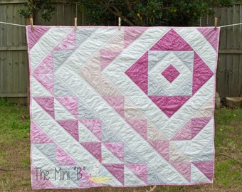 Modern  Geometic Pink and grey crib or lap size quilt
