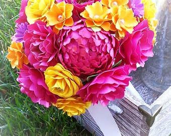 Paper Bouquet - Paper Flower Bouquet - Wedding Bouquet - Shades of Pink and Yellow - Custom Made - Any Color